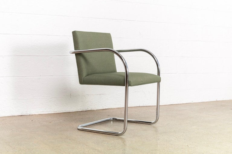 Mies van der Rohe Green Brno Chrome Cantilever Dining Chairs, Set of 4 For Sale 2