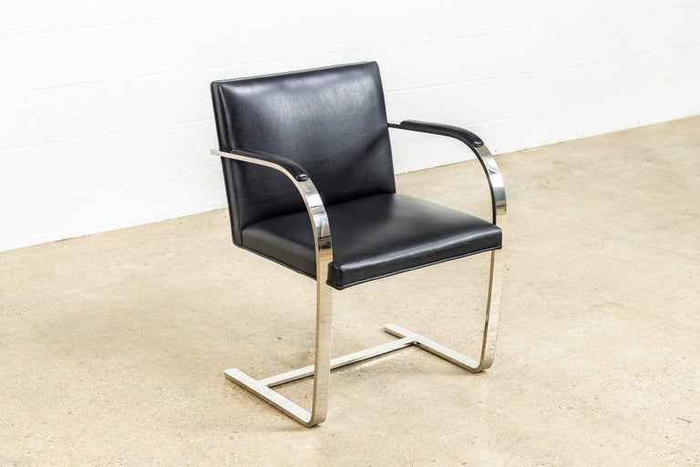 Mies van der Rohe Knoll Brno Flat Bar Black Leather & Chrome Chairs, Set of 4 For Sale 4