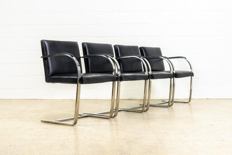American Mies van der Rohe Knoll Brno Flat Bar Black Leather & Chrome Chairs, Set of 4 For Sale