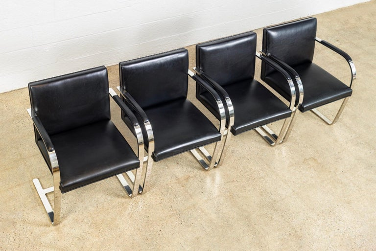 Mies van der Rohe Knoll Brno Flat Bar Black Leather & Chrome Chairs, Set of 4 In Good Condition For Sale In Detroit, MI