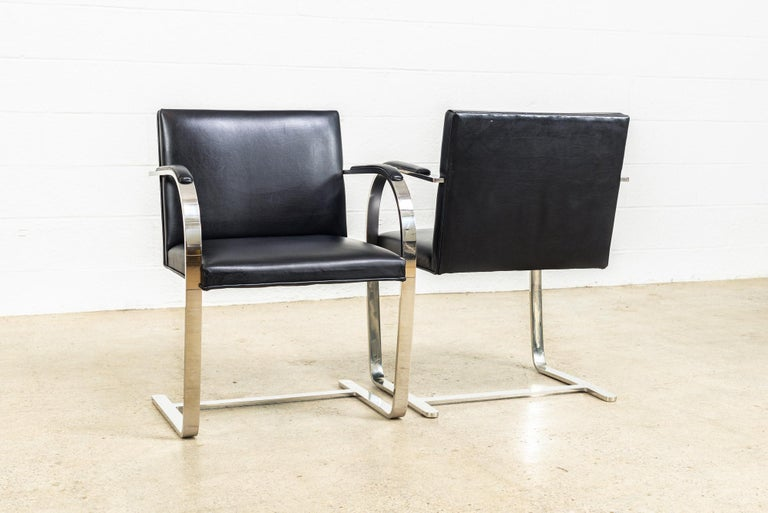 Mies van der Rohe Knoll Brno Flat Bar Black Leather & Chrome Chairs, Set of 4 For Sale 1