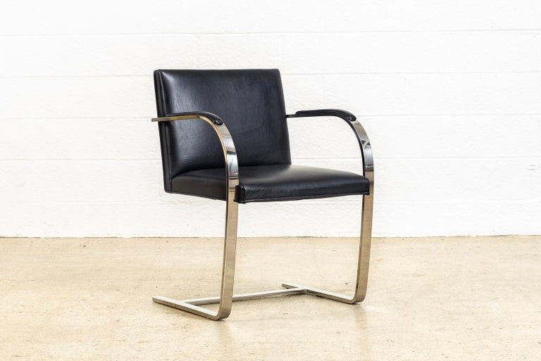 Mies van der Rohe Knoll Brno Flat Bar Black Leather & Chrome Chairs, Set of 4 For Sale 2