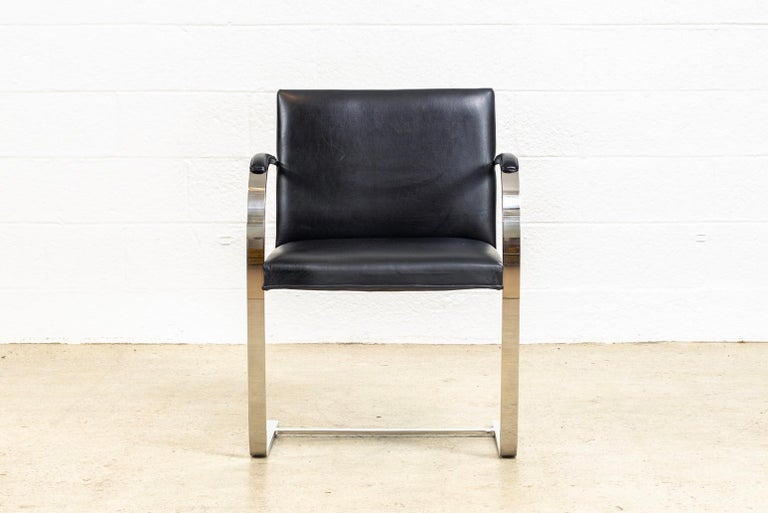 Mies van der Rohe Knoll Brno Flat Bar Black Leather & Chrome Chairs, Set of 4 For Sale 3