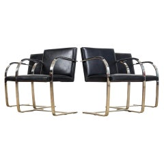 Mies van der Rohe Knoll Brno Flat Bar Black Leather & Chrome Chairs, Set of 4