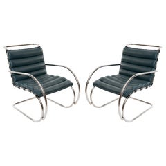 Mies Van Der Rohe Knoll MR40 Leather Lounge Chairs