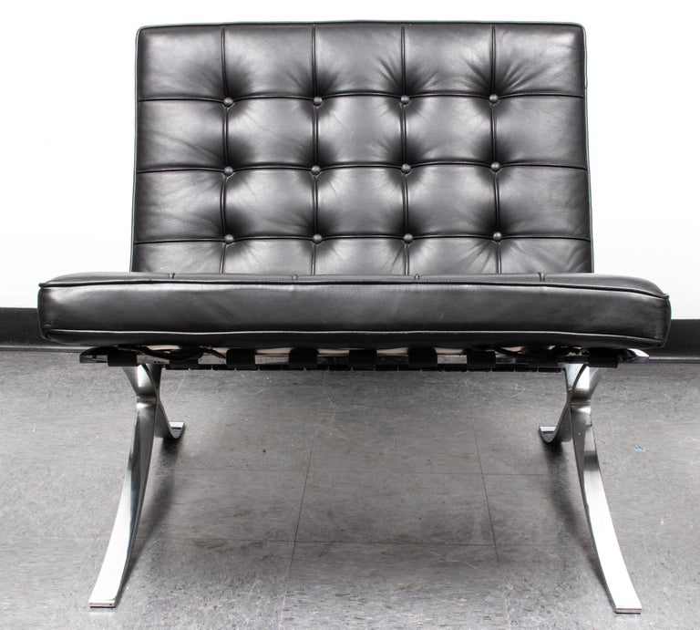 Chrome Mies van der Rohe Mid-Century Modern Split Frame Barcelona Chair For Sale