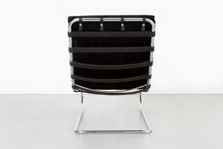 Stainless Steel Mies van der Rohe MR Chaise for Knoll Reupholstered in Brazilian Cowhide For Sale