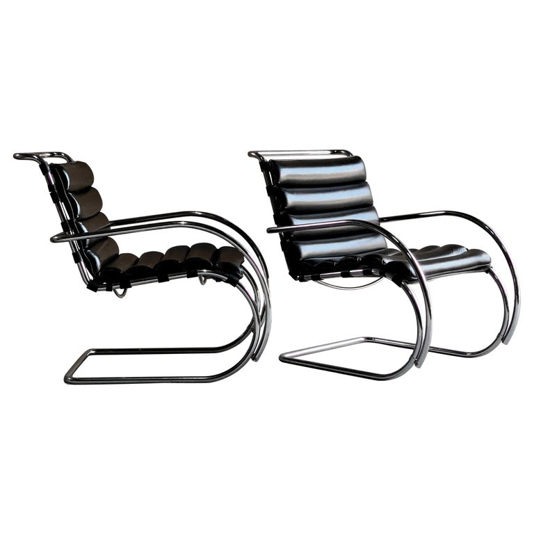 Excellent Mies Van Der Rohe Mr Lounge Chairs Black Leather Knoll Squirreltailoven Fun Painted Chair Ideas Images Squirreltailovenorg