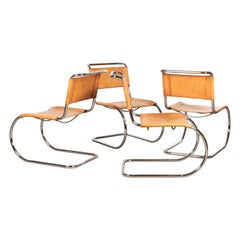 Mies van der Rohe MR10 Cantilever Chairs in Cognac Leather for Thonet