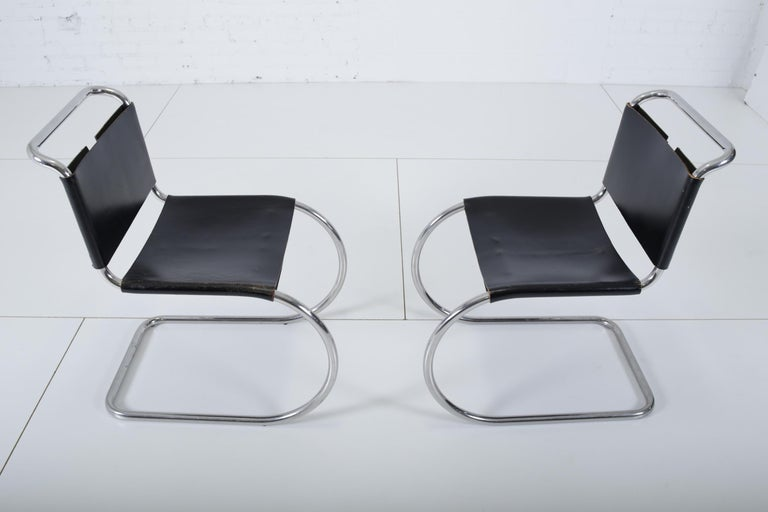 Stainless Steel Mies van der Rohe MR10 Chairs for Knoll For Sale