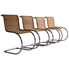 Mies van der Rohe MR10 Rattan Cantilever Chairs Set of Four by Knoll Original