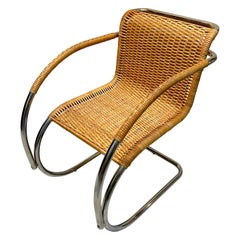 Mies van der Rohe MR20 Chrome & Wicker Lounge Chair, circa 1970s