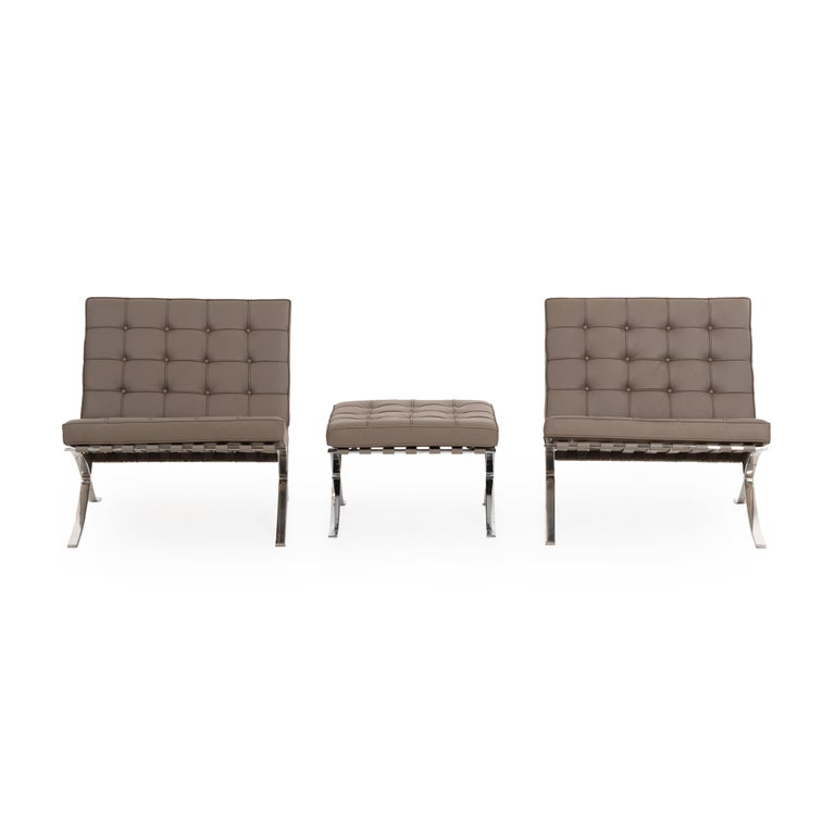 Mies van Der Rohe Pair of Barcelona Chairs and Ottoman for Knoll International 5