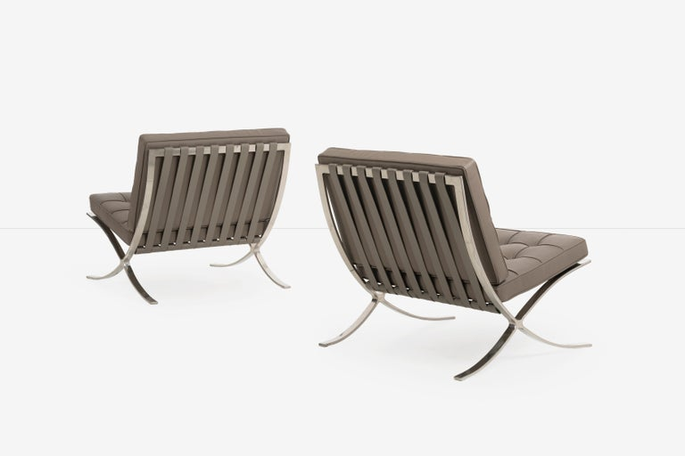 Mies van Der Rohe, pair of Barcelona chairs and ottoman for Knoll International: