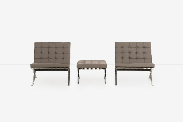 Mid-Century Modern Mies van Der Rohe Pair of Barcelona Chairs and Ottoman for Knoll International