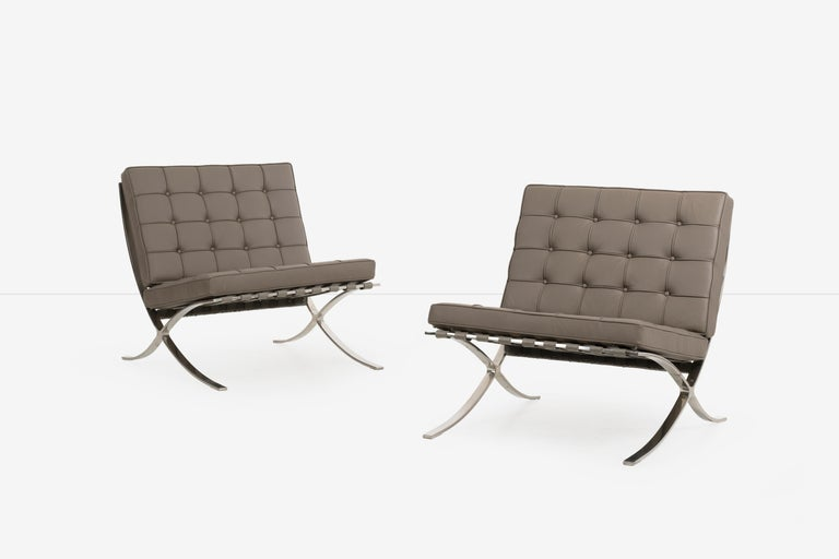 North American Mies van Der Rohe Pair of Barcelona Chairs and Ottoman for Knoll International