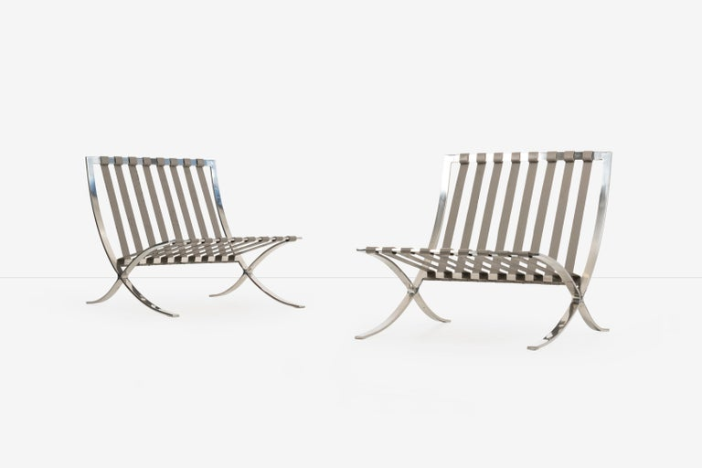 Mid-20th Century Mies van Der Rohe Pair of Barcelona Chairs and Ottoman for Knoll International