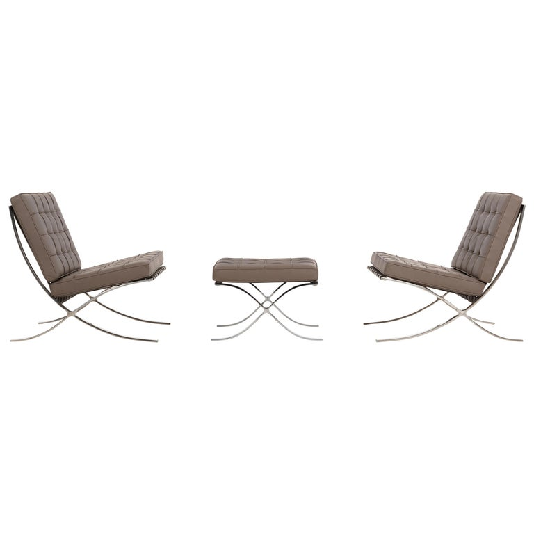 Mies van Der Rohe Pair of Barcelona Chairs and Ottoman for Knoll International
