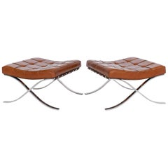 Mies van Der Rohe Pair of Barcelona Stools Knoll Int., 1970s