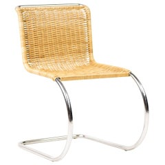 Mies van der Rohe Rattan and Chrome MR20 Chair