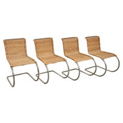 Mies Van Der Rohe Set of 4 B42 Rattan Easy Chairs by Tecta, circa 1960
