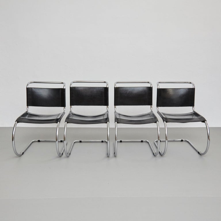 Set of 4 MR10 cantilever chairs by Ludwig Mies Van der Rohe, circa 1930. By unknown manufacturer, circa 1960. Germany  Inspired by the chairs of Marcel Breuer, Ludwig Mies Van der Rohe replaced the right angles on the front legs with a graceful