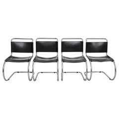 Mies Van Der Rohe Set of 4 MR10 Black Leather Easy chairs, circa 1960