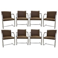 Mies van der Rohe Set of 8 BRNO Dining Chairs in Leather 1990s