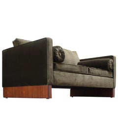 Mies van der Rohe Settee in Velvet and Teak