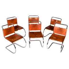 Mies van der Rohe, Six Early Side Chairs Original Leather with Lacing, MR Series