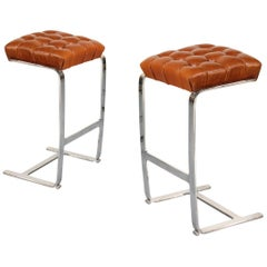Mies van der Rohe Steel and Leather Tufted Bar Stools for Knoll