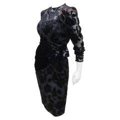 Mignon Black Cut Velvet Nude Illusion Cocktail Dress, 1980's