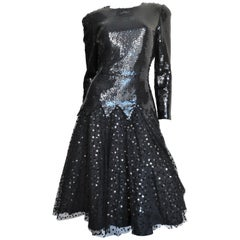Mignon Sequin and Tulle Dress 1980s