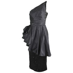 Mignon Vintage Black Sequin Silk Asymmetrical Origami One Shoulder Party Dress