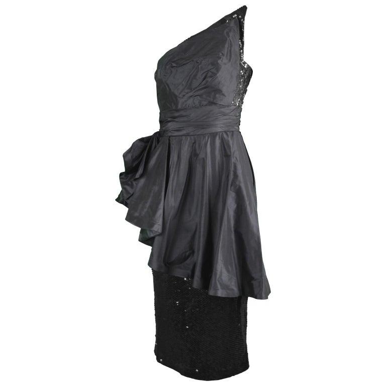 8c5411b021 Mignon Vintage Black Sequin Silk Asymmetrical Origami One Shoulder Party  Dress For Sale