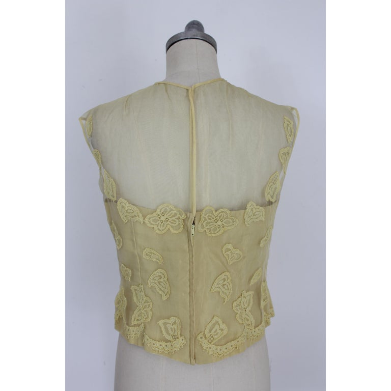 Mignon Yellow Silk Lace Museum Dress Suit Skirt and Jacket 1960s For Sale 6