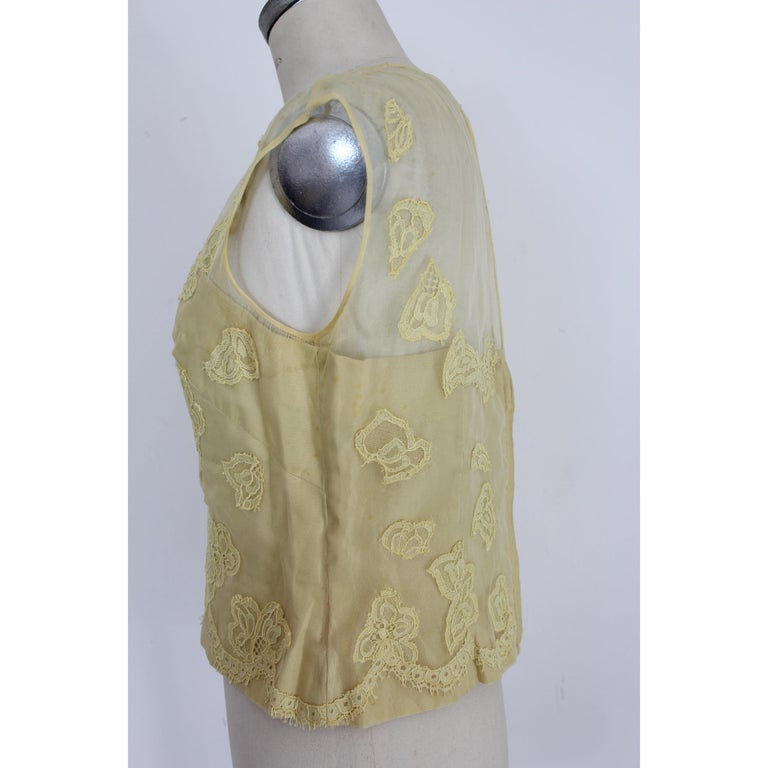 Mignon Yellow Silk Lace Museum Dress Suit Skirt and Jacket 1960s For Sale 7