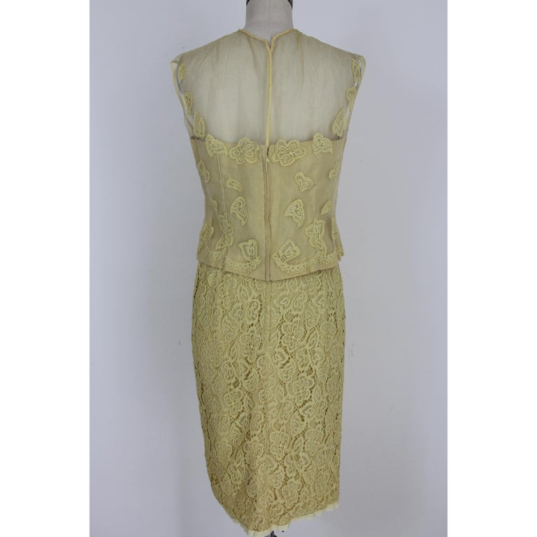 Women's Mignon Yellow Silk Lace Museum Dress Suit Skirt and Jacket 1960s For Sale