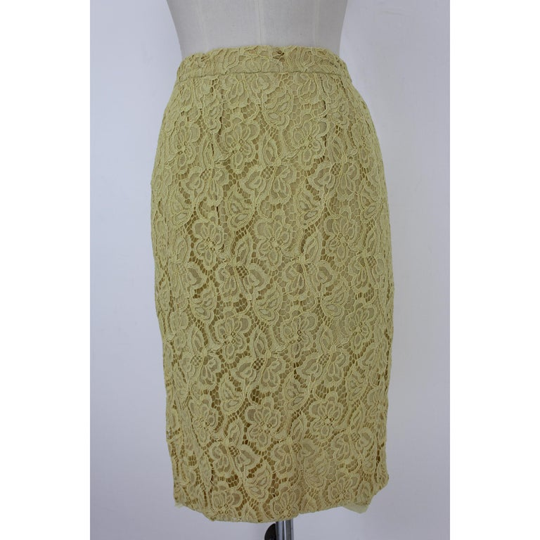 Mignon Yellow Silk Lace Museum Dress Suit Skirt and Jacket 1960s For Sale 1