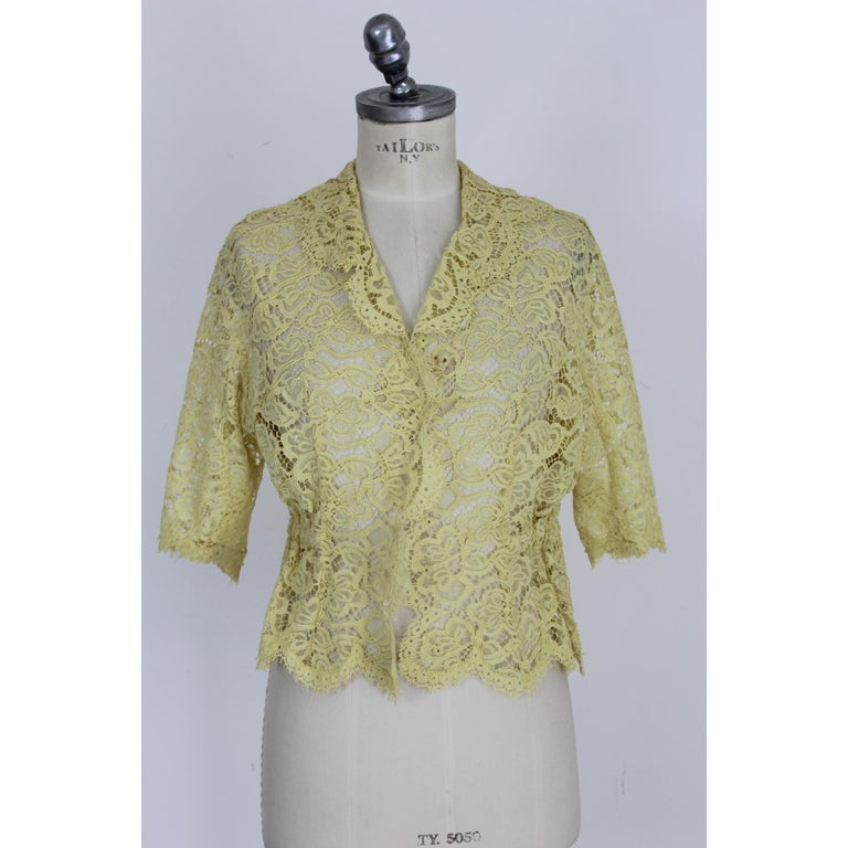 Mignon Yellow Silk Lace Museum Dress Suit Skirt and Jacket 1960s For Sale 2