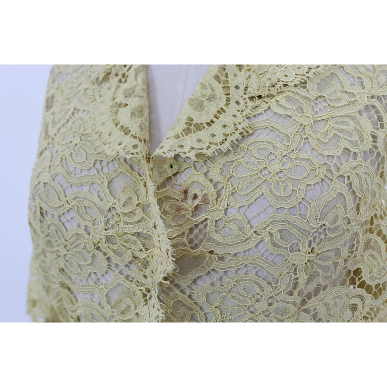 Mignon Yellow Silk Lace Museum Dress Suit Skirt and Jacket 1960s For Sale 3