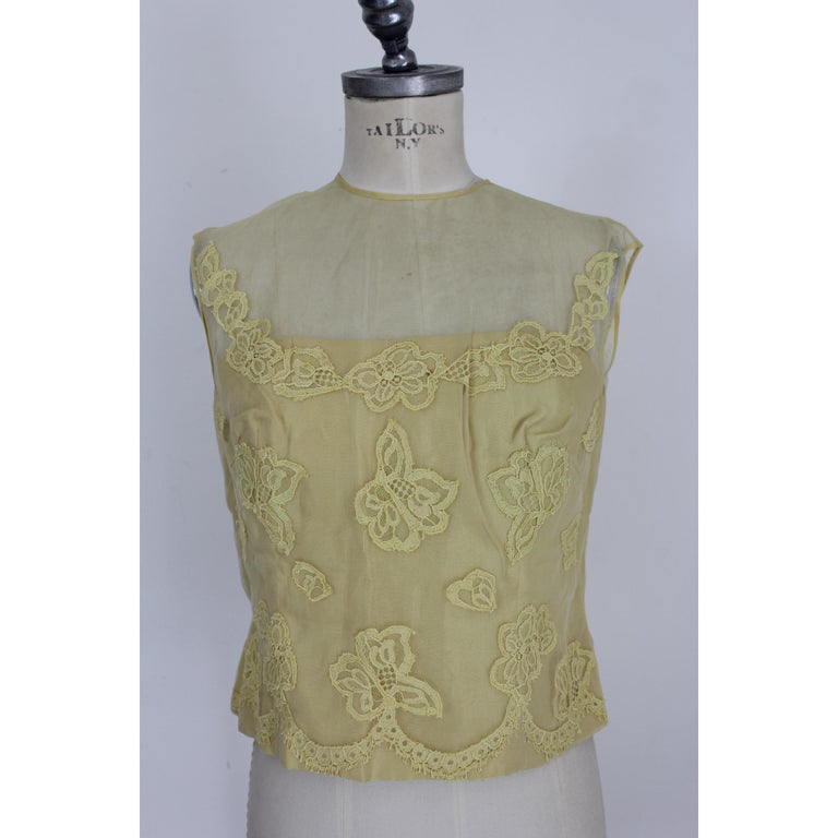 Mignon Yellow Silk Lace Museum Dress Suit Skirt and Jacket 1960s For Sale 4