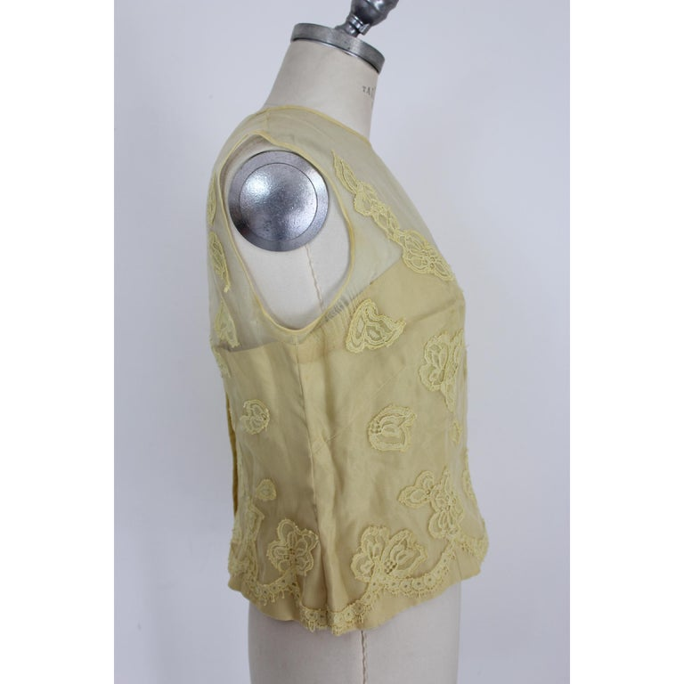 Mignon Yellow Silk Lace Museum Dress Suit Skirt and Jacket 1960s For Sale 5