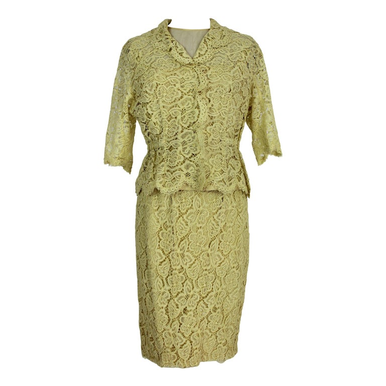 Mignon Yellow Silk Lace Museum Dress Suit Skirt and Jacket 1960s For Sale