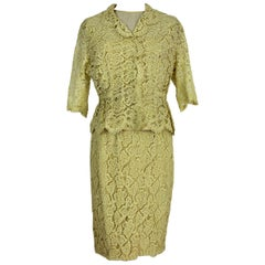 Mignon Yellow Silk Lace Museum Dress Suit Skirt and Jacket 1960s