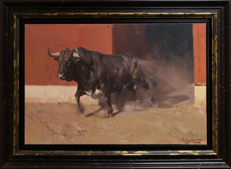 Item has only been displayed in a gallery setting and is in excellent condition. The framed dimensions measure approximately 29.5 x 40 inches.  Miguel Acevedo was born in 1947. He grew up in the countryside near Cordoba (Spain), where his father