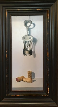 Contemporary Realist Still Life painting of a cork and screw 'Unwind' by Nunez