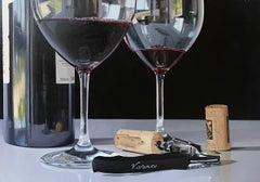 Contemporary Still Life Painting of Wine Bottles 'A Fine Rioja' by Angel Nunez