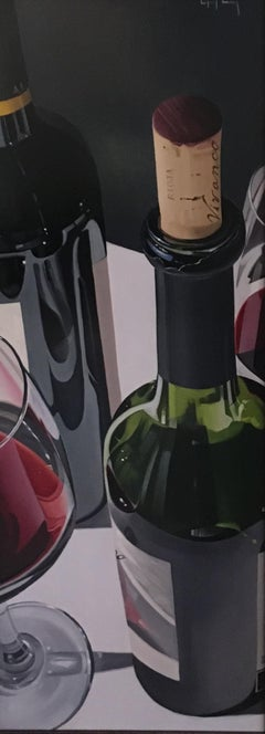 Contemporary still life painting of wine bottles & wine glasses 'A Glass or Two'