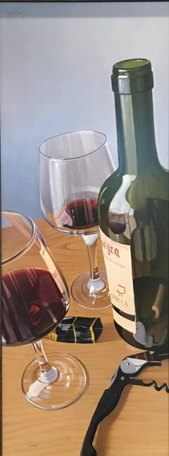 Contemporary Still life painting of Wine Glasses & Wine Bottles 'A Glass or Two'